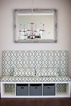 """Banquette DIY Ikea Hack- """"EXPEDIT"""" inexpensive bookshelf, turned over and turned into banquette seating! Too cool."""