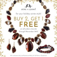 Hello holidays! Check everyone off your list (including you!) with our Buy 2, Get 1 FREE Sale – now through 11/14!