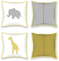 Supplies shown are for TWO coordinating pillows, because the giraffe and the elephant are friends and prefer not to be separated.