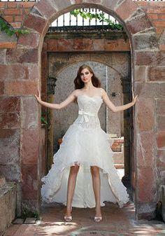 Popular Organza A line Floor Length Strapless Asymmetrical Train Bridal Dress - 1300251055B - US$195.79 - BellasDress