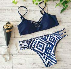 Navy Geometric Bikini – Girl Heaven