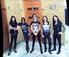 Black Veil Brides<< all of them look normal and then Ashley is like STRIKE A POSE BITCHES