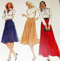 Skirt Sewing Pattern Retro Vintage 1980s by hookandneedlepattern, $5.00