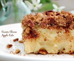 Cream Cheese Apple Cake This would be a perfect Thanksgiving desert.
