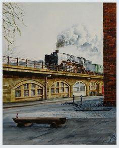 03 001 auf der Berliner Stadtbahn, Aquarell ca. 30 x 40, Maler und Fotograf Bernd Kauschmann