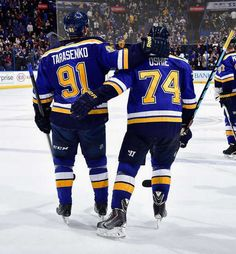 Oshie congratulates Tarasenko after he scores in a 4-3 overtime win against the Oilers. 11/29/14