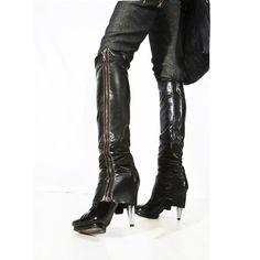Black Faux leather Zip Up leg warmer boot legs  by lummedesigns