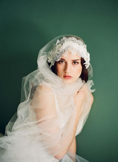 <3 twigs & honey 2012 silk tulle veil with chantilly lace and beaded appliques {photographed by elizabeth messina} <3