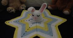 Sleepy Bunny Lovey  Written by Adrena Donnelly 2012  a.k.a. Crochet Crazy Mama   Size: One Size (Star measures 20 inches across)   What ...