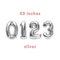 CUSTOM Number Balloons  40 Silver Number Balloons Number Balloons, Unique Jewelry, Handmade Gifts, Silver, Etsy, Kid Craft Gifts, Craft Gifts, Costume Jewelry, Diy Gifts