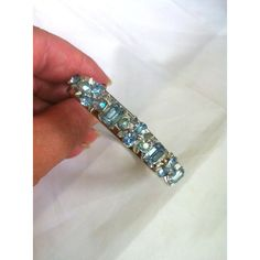Blue Rhinestone Bangle Bracelet, Lisner Designer, 1950s Vintage... (£30) via Polyvore featuring jewelry, bracelets, rhinestone bangle bracelet, leaf bangle bracelet, blue jewelry, flower bangle bracelet and flower jewellery