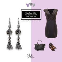 Tassel Earrings with Silver Swirl Dots - Gorgeous!    Interchangeable, customizable snap jewelries & accessories #styledots