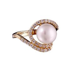 Pearl Ring 14kt yellow gold engagement by ParthenonGreekJewelr