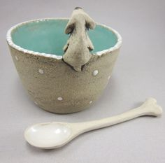 Dream BoneGuarded Bowl with Spoon in Stoneware by elukka on Etsy, €35.00