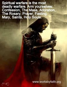 Warfare...I am not Catholic, but I'd love a poster with a knight like this and the scripture on clothing ourselves in God's armour