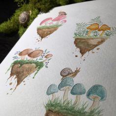"""""""Mini Mushroom Islands"""" - watercolor - Savannah Winn"""