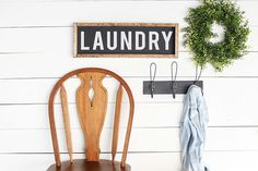 LAUNDRY This sign can be used as part of a gallery wall or as a statement piece. With a style that can easily be incorporated into almost any decor and sturdy construction, this sign can be well loved for many years to come. This hand painted sign has a 1/2 inch birch wood