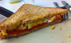 Home-roasted red peppers, boiled egg, high-quality tuna, good olive oil, salt and pepper. Mediterranean summer in a sandwich. Roasted Red Peppers, Boiled Eggs, Salt And Pepper, Tuna, Olive Oil, Bliss, Sandwiches, March, Summer