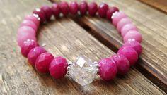 Tendance Bracelets  Strech bracelet. pink bracelet. Jade and crystal. Women's bracelet. Boho. Yoga Mala