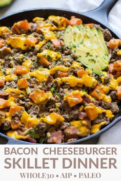 Bacon Cheeseburger Casserole & AIP) : Nothing says comfort food like a Bacon Cheeseburger Casserole. Add this simple meal to your list of standby recipes for busy weeknights that even your kids will love pickles and non dairy cheese included. Paleo Recipes, Whole Food Recipes, Paleo Food, Paleo Meals, Copycat Recipes, Paleo Casserole Recipes, Easy Whole 30 Recipes, Paleo Chicken Recipes, Diabetic Meals
