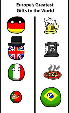 Europe's Gifts to the World ( Germany, UK, Italy, Portugal, Brazil ) by Theirishisraeli #polandball #countryball