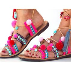 Pink Pom Pom Sandals, Leather Sandals, Gladiator sandals, Greek... (€150) ❤ liked on Polyvore featuring shoes, sandals, beaded sandals, boho sandals, summer shoes, greek leather sandals and pink gladiator sandals