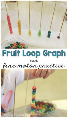 Use fruit loops to build hands-on graphs with young children. They can also use them to sort and pattern. - Play to Learn Preschool Preschool Fine Motor Skills, Motor Skills Activities, Preschool Learning, Toddler Activities, Sensory Activities, Leadership Activities, Steam Activities, Group Activities, Sensory Bins