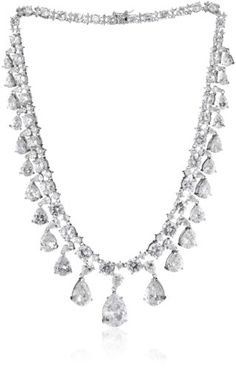 "CZ by Kenneth Jay Lane ""Perfect Pears"" Rhodium-Plated Cubic Zirconia Vanderbilt Pears Necklace CZ by Kenneth Jay Lane,http://www.amazon.com/dp/B007W008YY/ref=cm_sw_r_pi_dp_JEb4rb1J4T9CC1EG"