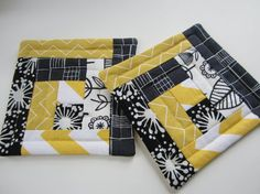 Modern yellow black & white quilted coasters set of 4 by seaquilt