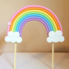 Having a Rainbow themed party? Let this topper be the center of your party! It is made of fondant so 100% edible. If you would like to customize them please include your preference in the note to seller section upon placing your order. Contains: * 1 Large Fondant Rainbow. Sizes are in accordance to the size of the cake you choose. Please allow 2 weeks advance notice as they are made-to-order, just for you! If less than 2 weeks please message me to see if it is possible first :) Rush order…