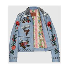 Gucci Embroidered leather jacket (601.245 RUB) ❤ liked on Polyvore featuring…