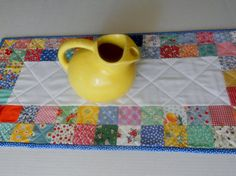 Patchwork Quilted Table Runner Feedsack by ForgetMeNotQuilteds