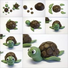 Creative Ideas – DIY Cute Fondant Turtle Cake Topping - Easy Crafts for All Polymer Clay Animals, Polymer Clay Crafts, Diy Clay, Polymer Clay Turtle, Fondant Cake Toppers, Fondant Cakes, Cupcake Toppers, Cake Icing, Decors Pate A Sucre