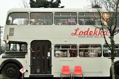 Awesome double decker bus/shop selling vintage clothes. Excellent idea
