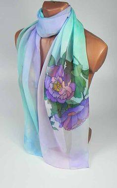 Silk Scarf Wild Rose purpleblue Batik handpainted on by lavanita, $99.00