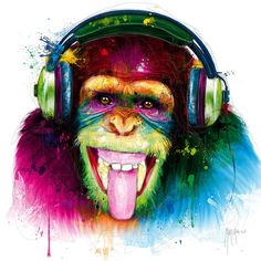 Giclee Print: DJ Monkey by Patrice Murciano : Murciano Art, Patrice Murciano, Tableau Pop Art, Monkey Pictures, Monkey Art, Modern Oil Painting, Street Art Graffiti, Animal Paintings, Giclee Print