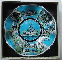 Vintage 1960s Walt Disney World Magic Kingdom Glass Fluted Candy Dish Bowl Plate