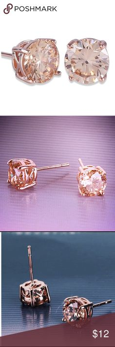 NWT Rose Gold tone Eternity Stud earrings rose gold tone. NWT, 7mm CZ Stone Jewelry Earrings