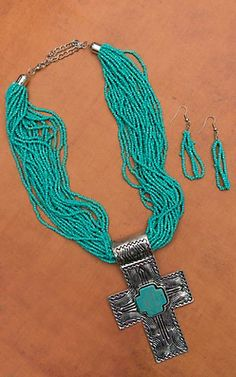 Turquoise and Silver Multistrand with Cross Pendant Necklace and Earring Set | Cavender's