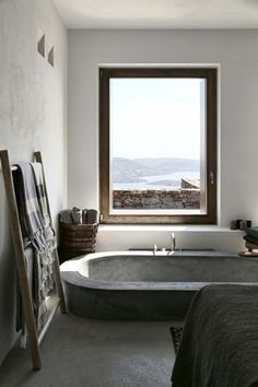 """Rustic interior in warm, soft neutrals. Previous pinner wrote: """"What a wonderful home."""""""
