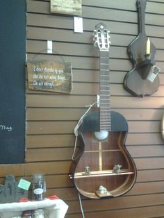 Great Gift for Mother's Day Upcycled Guitar Shelf Lamp Wall Hanging Display by TheRustyBucketVT on Etsy