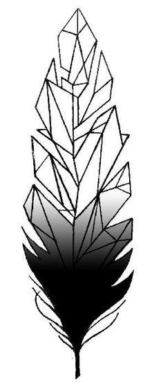 tattoo design geometric feahter by Ann miu lumen Janssens