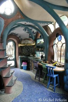 thyme2dream: Source : http://michelpellerin.wordpress.com  What a charming fairy-esque little work space!  ~Charlotte (PixieWinksFairyWhispers)