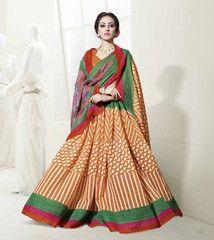 Orange & Green Color Linen Cotton Silk Casual Function Sarees : Prasiddhi Collection  YF-40307