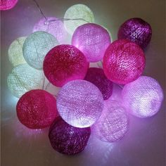 Fuchsia-pink tone cotton ball string fairy lights , powered by 3AA battery, home party patio wedding decor