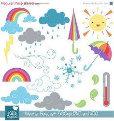 75%OFF INSTANT DOWNLOAD Daily Weather Digital Clipart by DigiKika