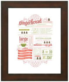 Frame this gingerbread cookie recipe for yourself or gift it!  How stinkin' cute is this?  Makes a great gift!  Print it and frame it!  Too easy....
