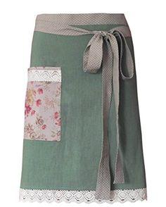 Baronesse Rose Halbschürze aus Leinen khaki mit floralen Details 42L