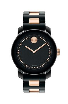 Movado 'Bold' Two Tone Ceramic Bracelet Watch, 36mm | Nordstrom