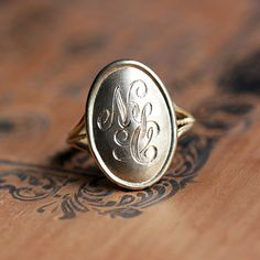 14k gold monogram ring gold initial ring by metalicious on Etsy